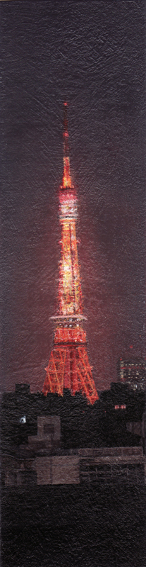 "Tokyo Tower At Night - Acrylics On Paper (1.25"" x 4.75"")"