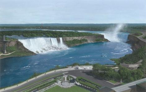 "Niagara Falls - Acrylics on Paper (7"" x 11"")"