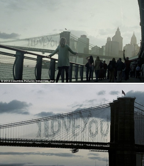 In this shot of the Brooklyn Bridge, Spider-man leaves a note for his sweat heart